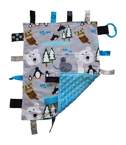 Baby Jack Educational Learning Lovey Ribbon Tag 14x18 Security Blanket - Polar Design
