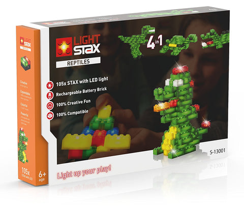 Light Stax Illuminated Building Blocks - Reptile 105-Piece Set with Battery Pack