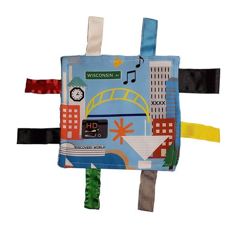 The Learning Lovey City Baby Crinkle & Teething Tag Square Tummy Time Stroller Toy 8x8 inch (Milwaukee)
