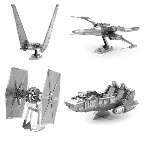 Set of 4 Star Wars Metal Earth 3D Laser Cut Models: Kylo Ren's Command Shuttle, Special Forces TIE Fighter, First Order Snowspeeder, and Poe Dameron's X-wing Fighter