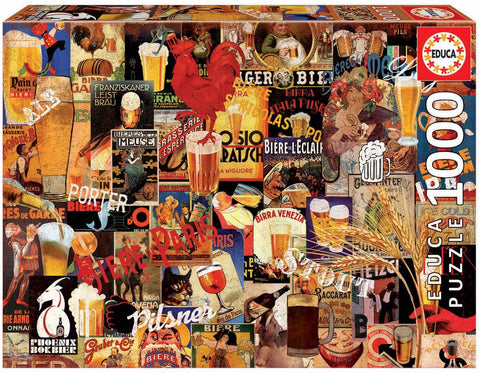 Educa Borras 17970 1000 Vintage Beer Collage Puzzle, Multi-Colour