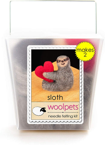 WoolPets Easy Needle Felting Craft Kit - Sloth with Heart (Makes 2)