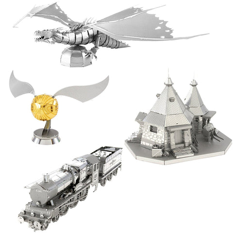 Fascinations Metal Earth 3D Metal Model Kits - Harry Potter Set of 4 - Hogwars Express Train, Hagrid's Hut, Golden Snitch, Gringotts Dragon