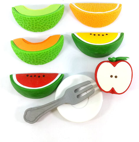 BC Mini Iwako Japanese Puzzle Eraser Set - Slices of Fruit with Plate and Fork
