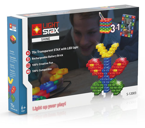 Light Stax Illuminated Building Blocks - Shine 75-Piece Transparent Set with Battery Pack