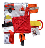 "Baby Jack Satin Sensory Baby Lovey with Ribbon Tabs - 14"" x 18"" Fire Fighter"