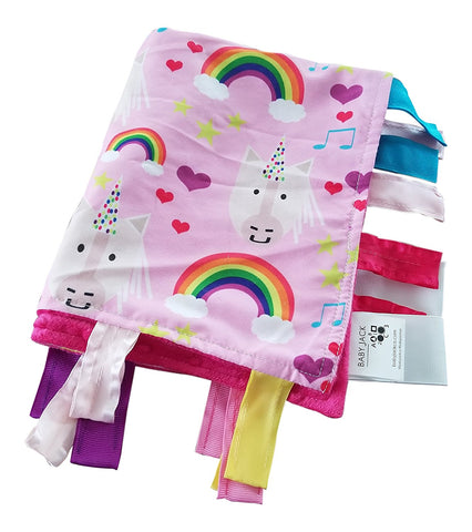 "Baby Jack Lovey Security Baby Blanket 14"" x 18"" Sensory Tag Toy - Unicorn"