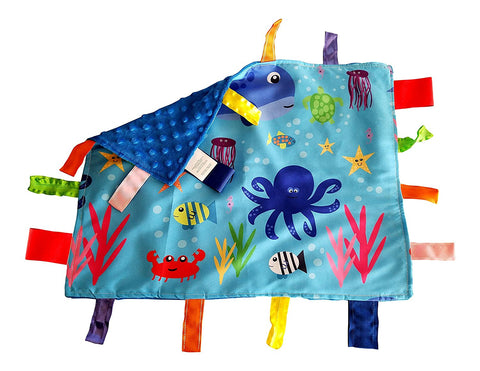 "Baby Jack Lovey Security Baby Blanket 14"" x 18"" Sensory Tag Toy - Ocean"