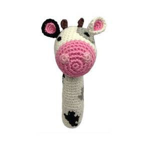 Cheengoo Organic Hand Crocheted Cow Stick Rattle