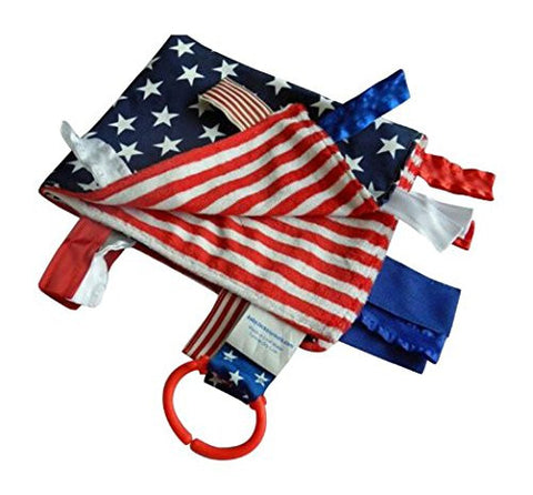 Baby Jack Blankets Satin Sensory Baby Lovey with Tabs - American Flag and Military Inspired