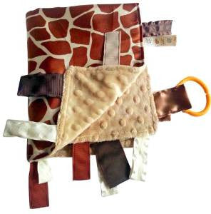 Baby Jack Blankets Satin Lovey with Tabs - Giraffe Spots