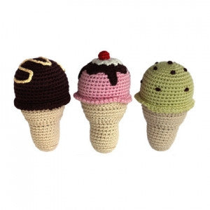 Cheengoo Hand Crocheted Organic Rattles - Set of 3 Ice Cream Cones