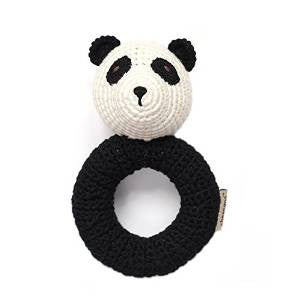 Cheengoo Organic Hand Crocheted Panda Ring Rattle