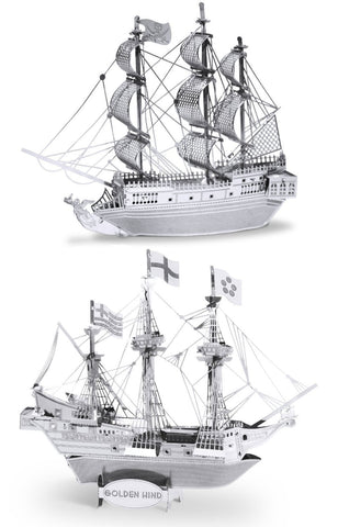 Fascinations Set of 2 Metal Earth 3D Laser Models: Black Pearl and Golden Hind