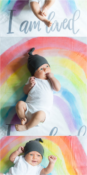 """Rainbow"" Organic Cotton Knit Blanket"