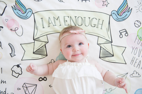 """I Am Enough"" Organic Cotton Knit Blanket"