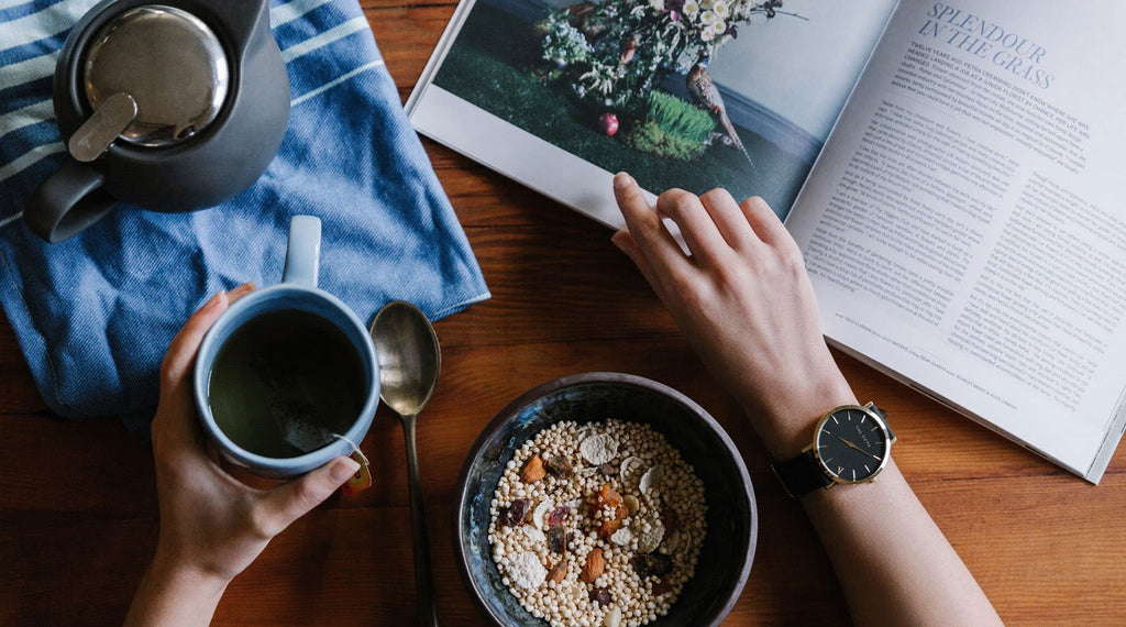 Oats, coffee, and a magazine for an easy morning routine