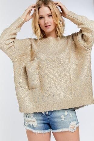 Ava Round Neck Gold Flakes Sweater