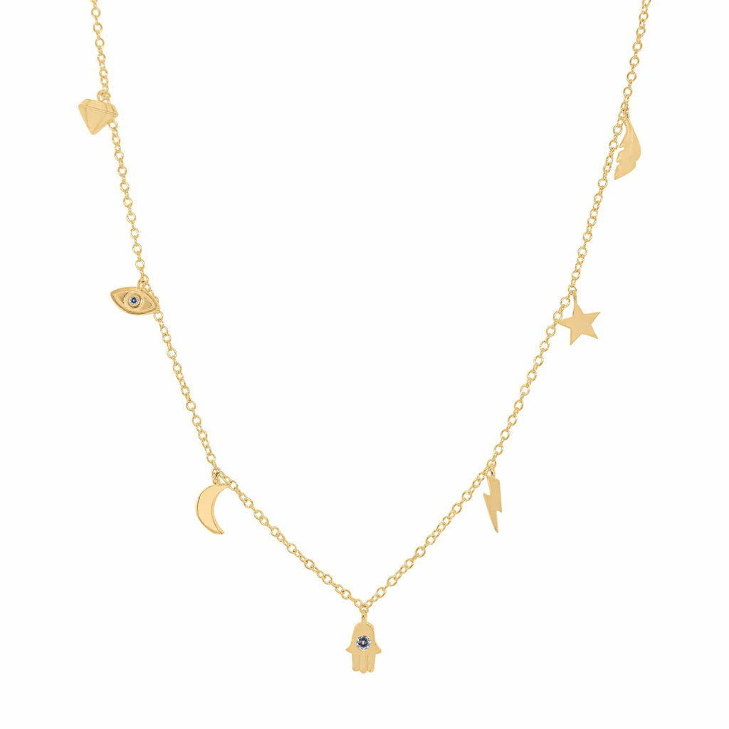 Dainty Greek Isle Multi-Charm Necklace Gold - MILK MONEY