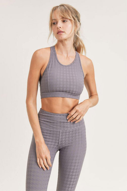 3D Houndstooth Jacquard TACTEL® X-Back Sports Bra plum  grey front MILK MONEY