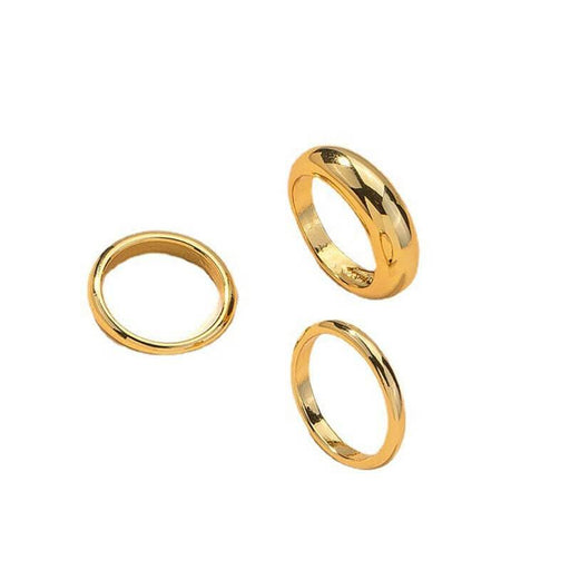 Aiden 3 piece Ring Set gold front | MILK MONEY milkmoney.co | They are simple, cute, and fashionable. It is a good gift for your friend or won't hurt your wallet. Free Shipping and Returns.