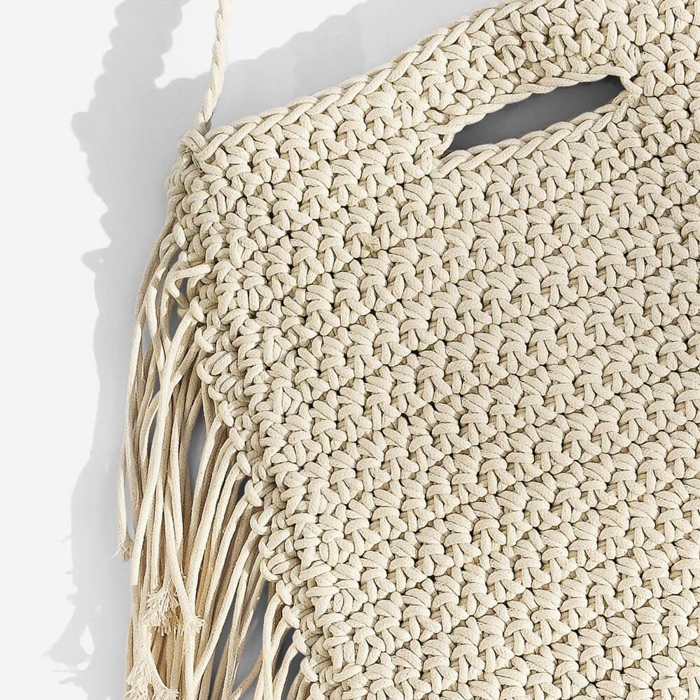 Alexis Woven Festival Crossbody Bag White Close up - MILK MONEY