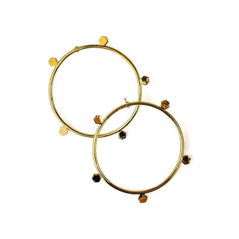 Alice Front Hoop Studded Earrings Gold - MILK MONEY
