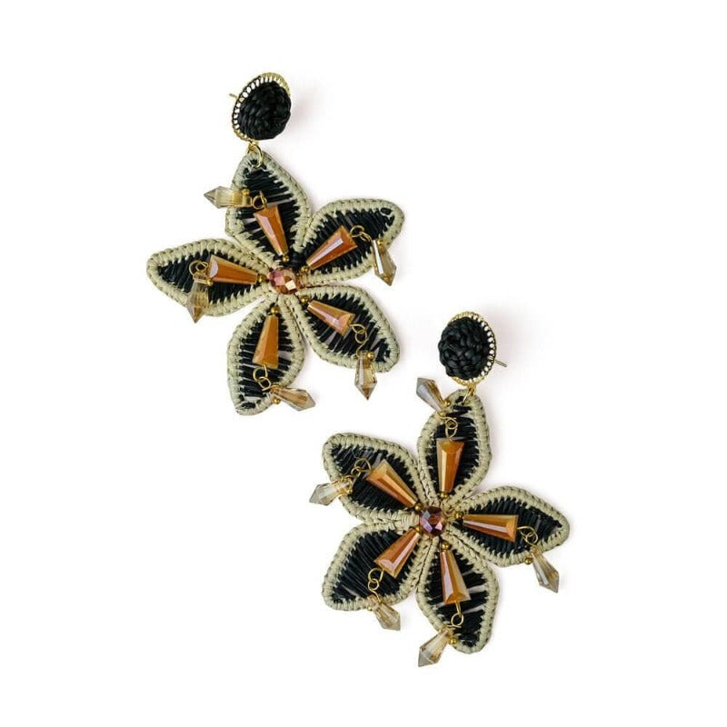 Aloha Hawaiian Woven Earrings Black Crystal accents - MILK MONEY