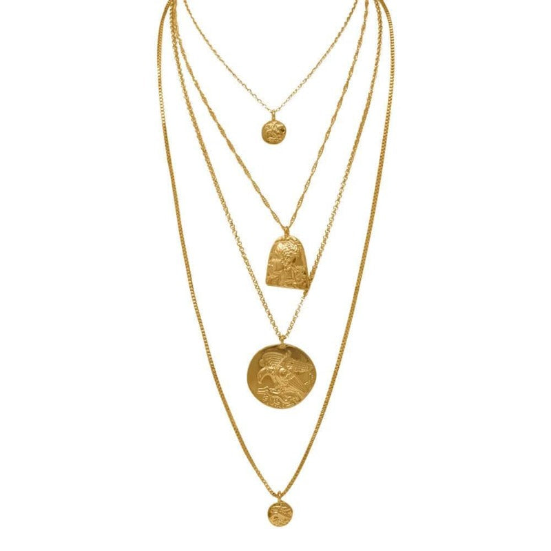 Amelia 4 Piece Gold Coin Necklace Set MILK MONEY