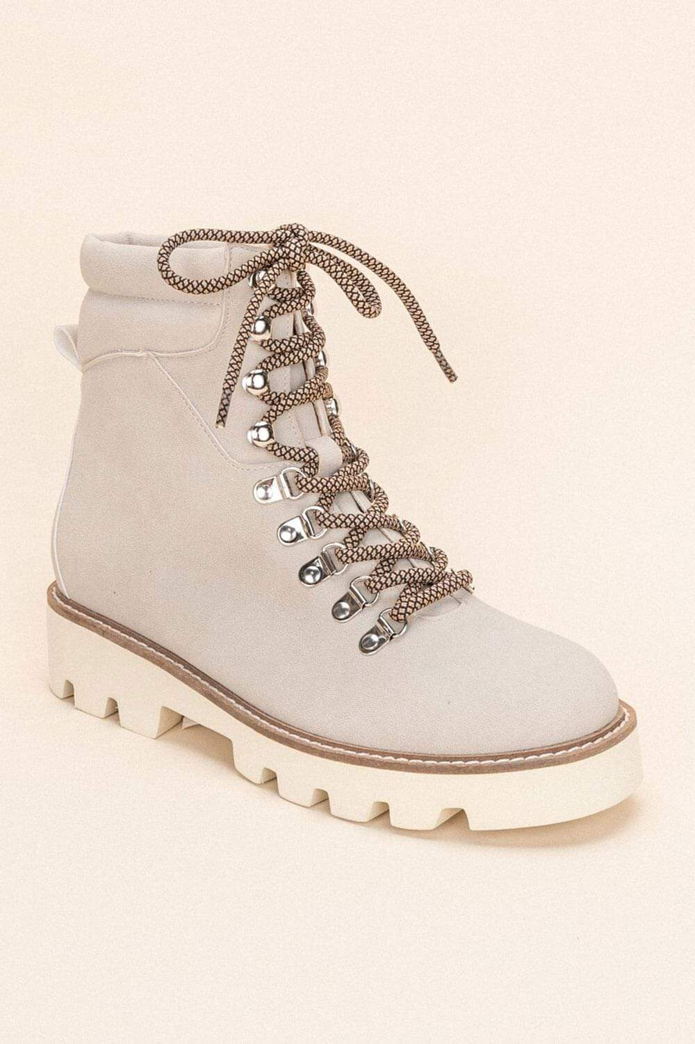 Arlene High-Top Lace Up Boot lt. grey MILK MONEY