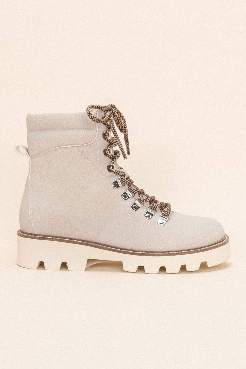 Arlene High-Top Lace Up Boot lt grey side MILK MONEY