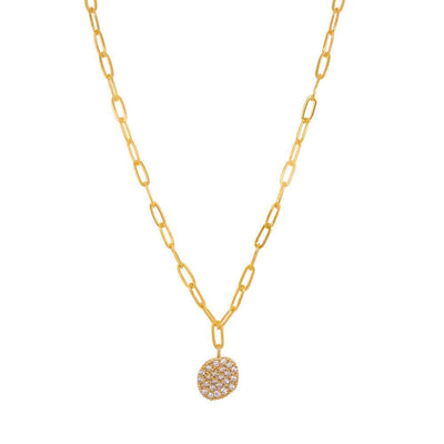 Artist Pavé Disc Necklace gold MILK MONEY