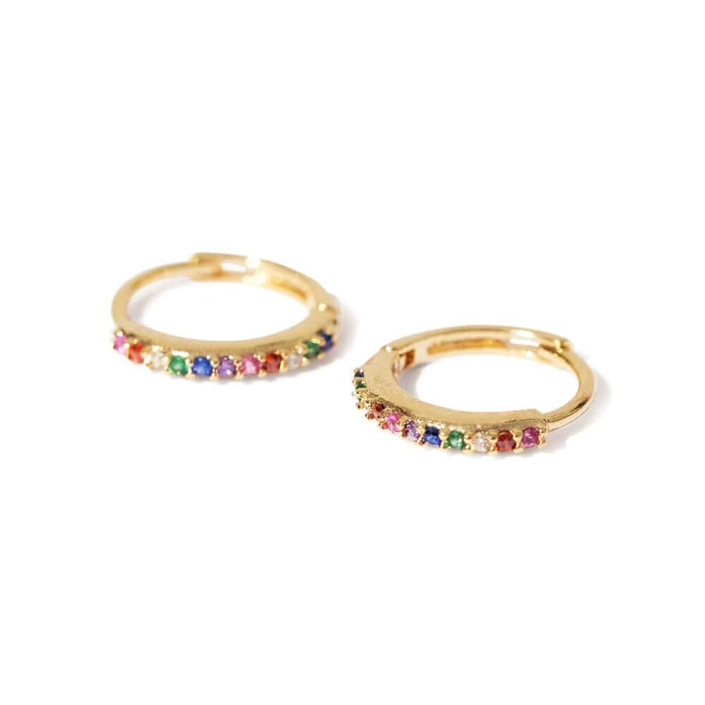 Aster Huggie Earrings Gold Rainbow - MILK MONEY
