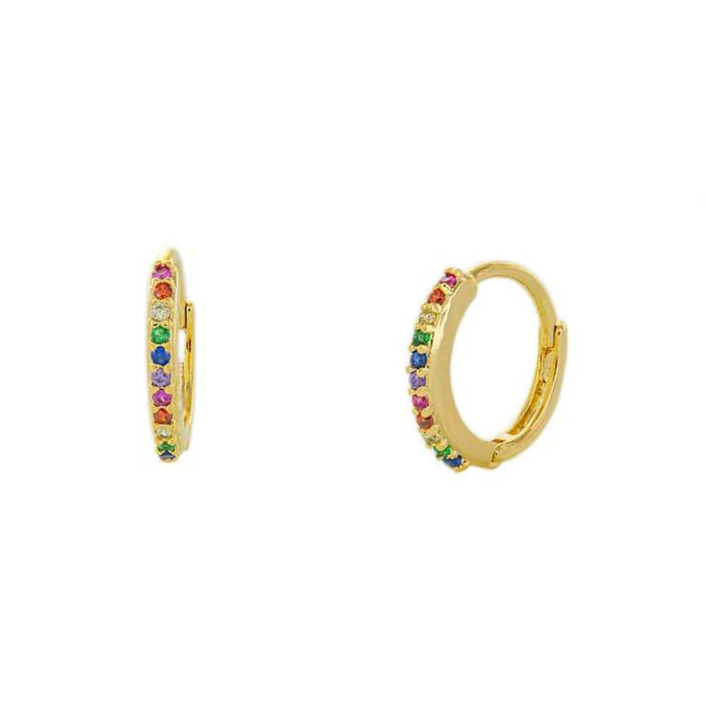 Aster Huggie Earrings Gold Rainbow Crystals - MILK MONEY