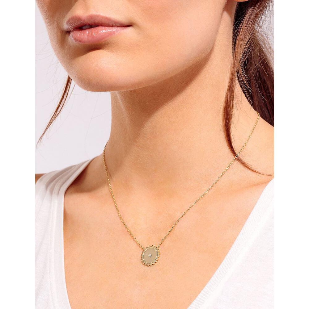 Athena Charm Layering Necklace Gold Model MILK MONEY