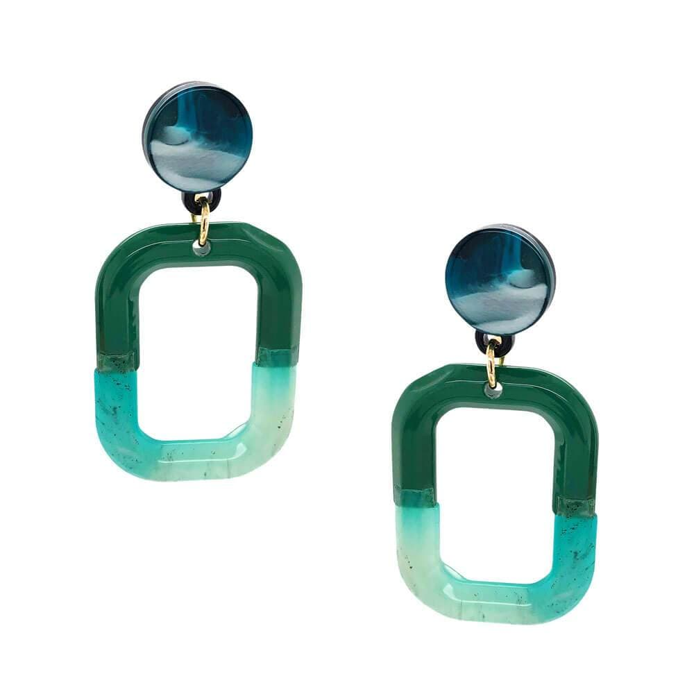Womens Ava Two Tone Acetate Earrings Green - MILK MONEY