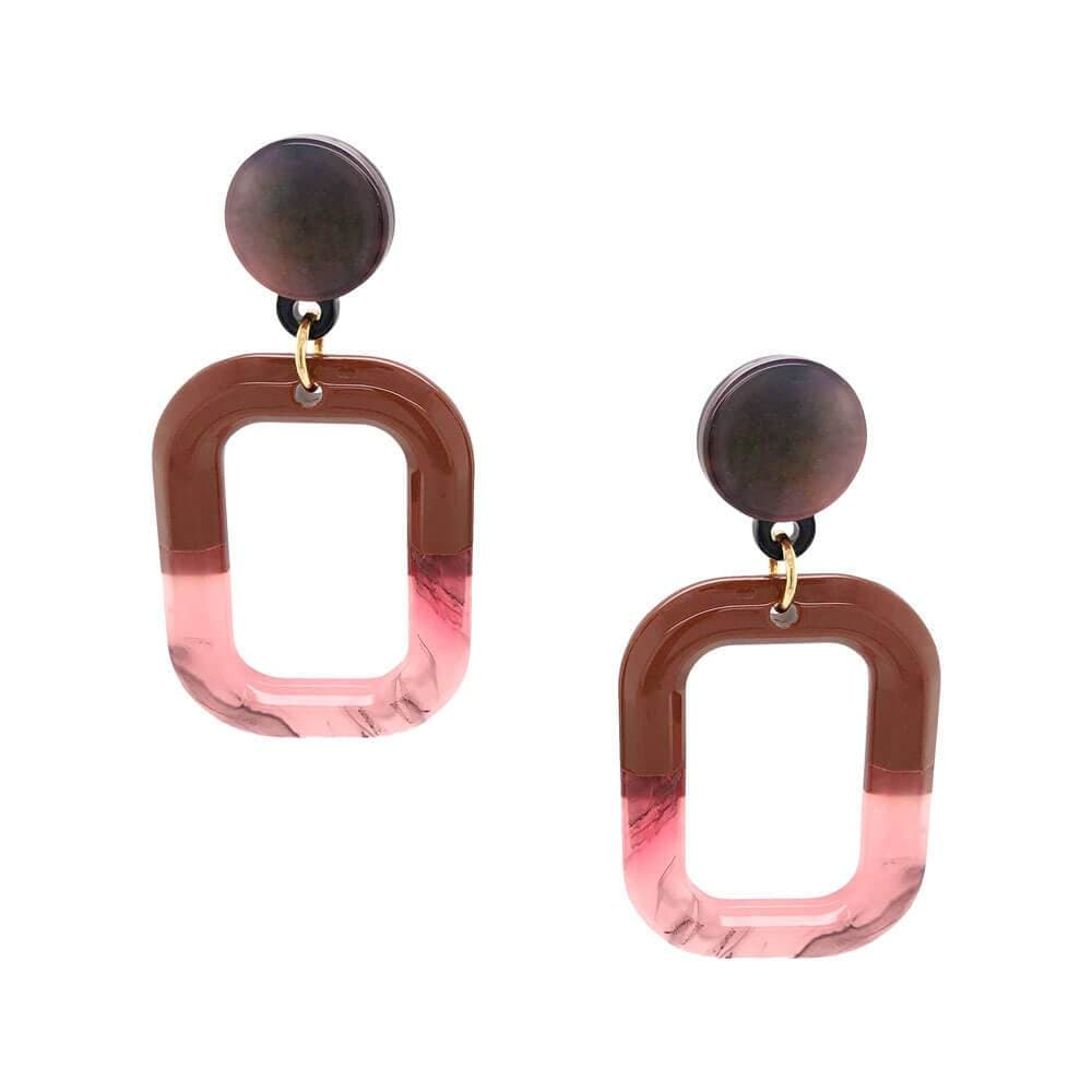 Womens Ava Two Tone Acetate Earrings Pink - MILK MONEY
