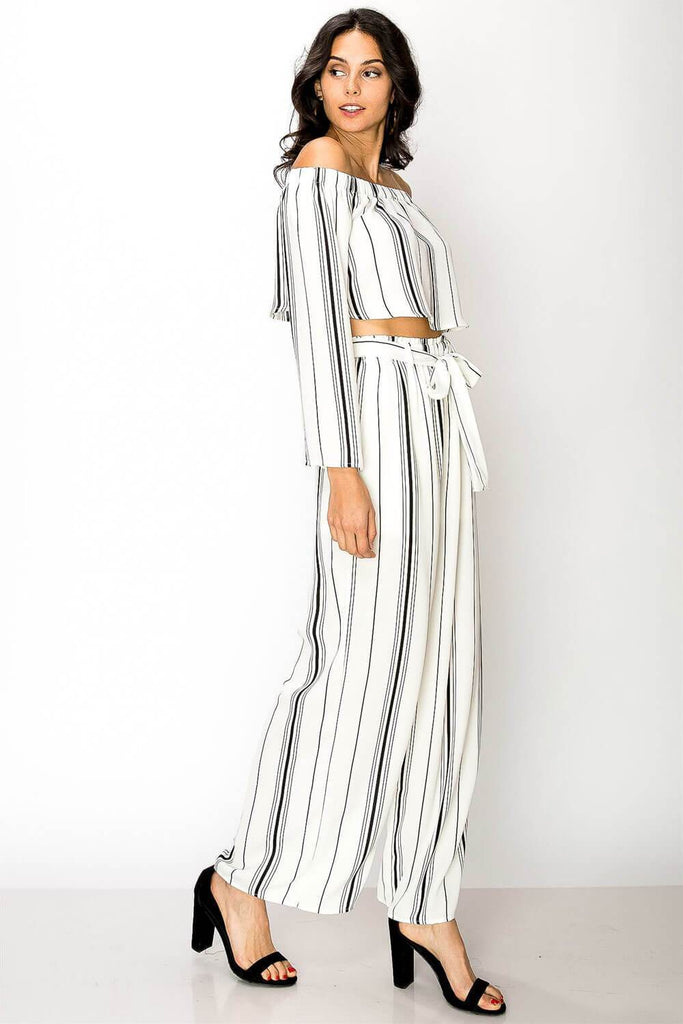 Blake Striped Pants Set white black side - MILK MONEY