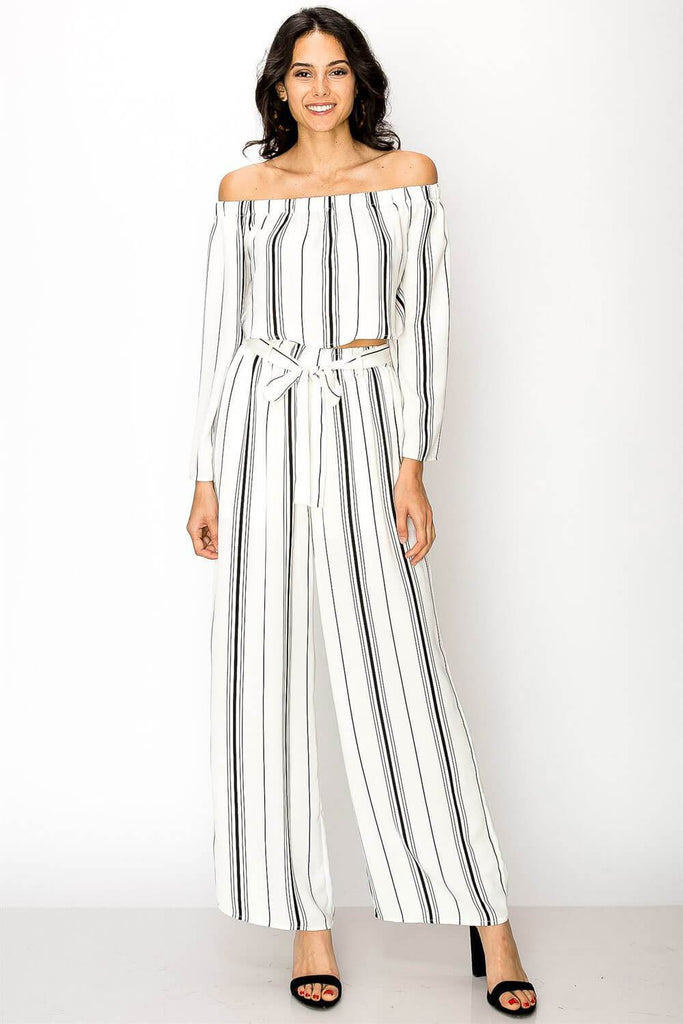 Blake Striped Pants Set white black - MILK MONEY