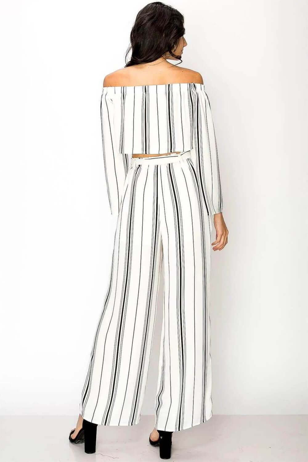 Blake Striped Pants Set white black back - MILK MONEY