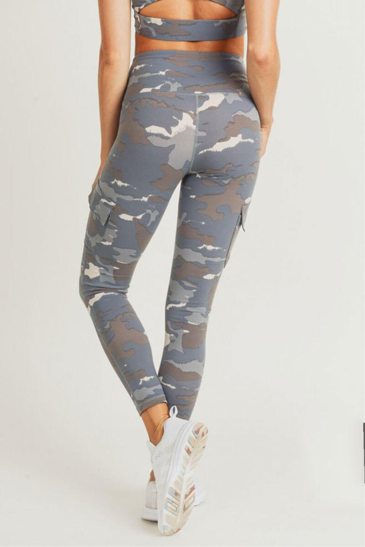 Blue Tundra Camo Cargo Hybrid High Waist Leggings blue back MILK MONEY