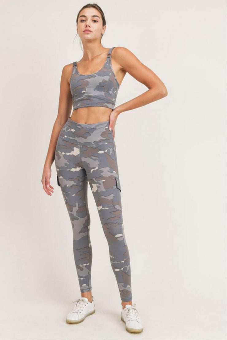 Blue Tundra Camo Cargo Hybrid High Waist Leggings blue full MILK MONEY