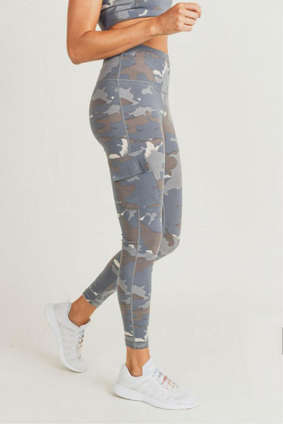 Blue Tundra Camo Cargo Hybrid High Waist Leggings blue side MILK MONEY