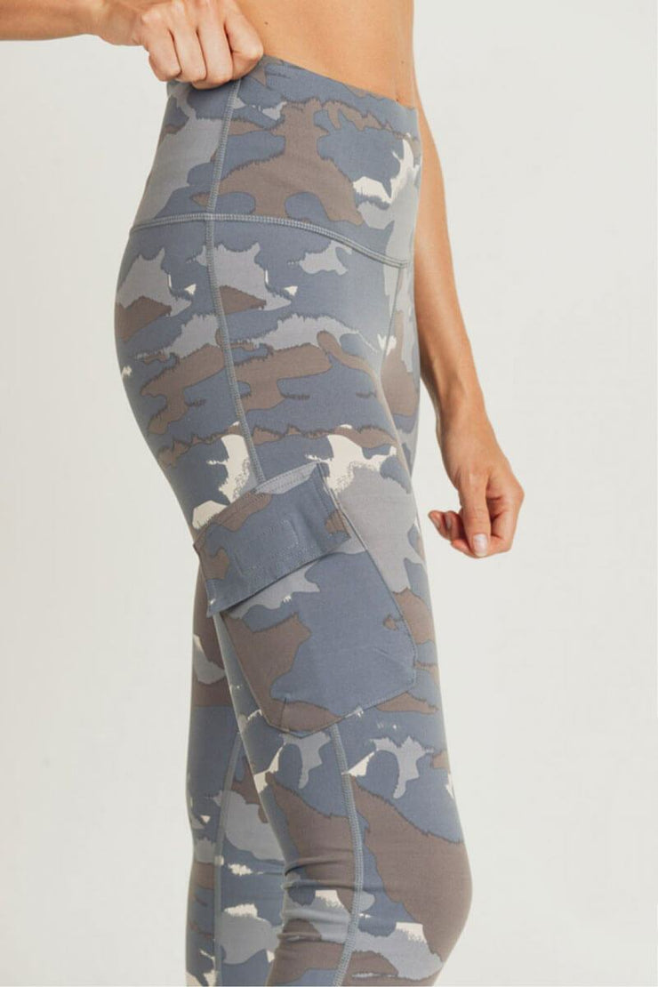 Blue Tundra Camo Cargo Hybrid High Waist Leggings blue side detail MILK MONEY