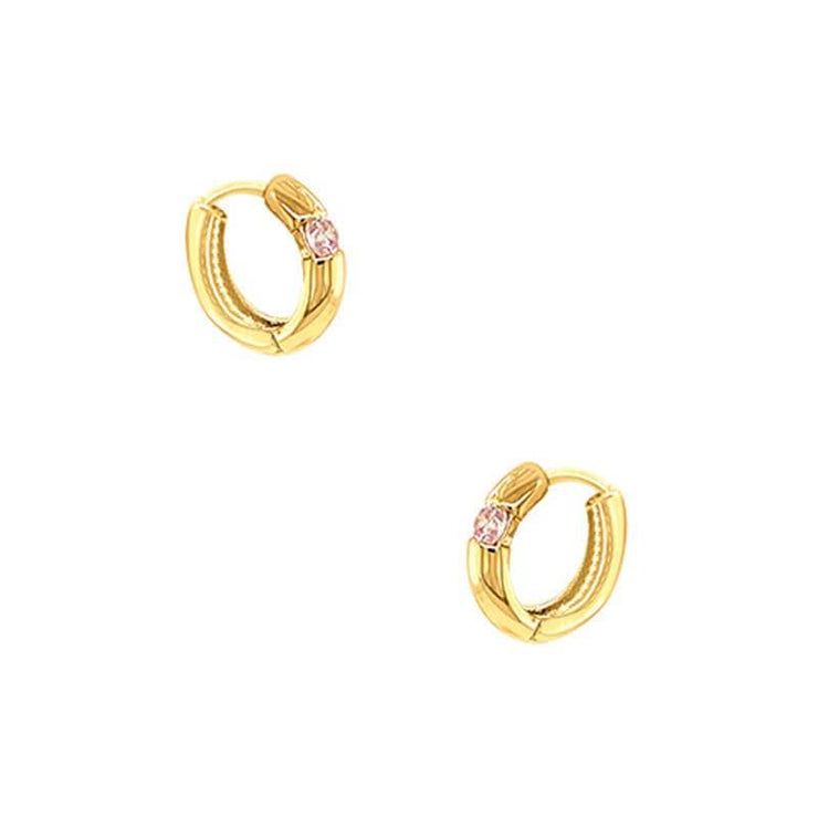 Bold Solitaire Huggie Hoop Earrings gold angle MILK MONEY