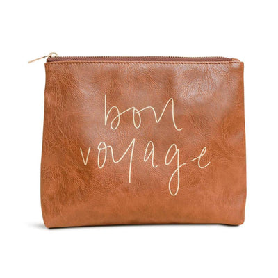 Bon Voyage Faux Leather Makeup Bag brown MILK MONEY