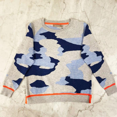 Brodie Cashmere Tipped Camo Sweater blue front MILK MONEY