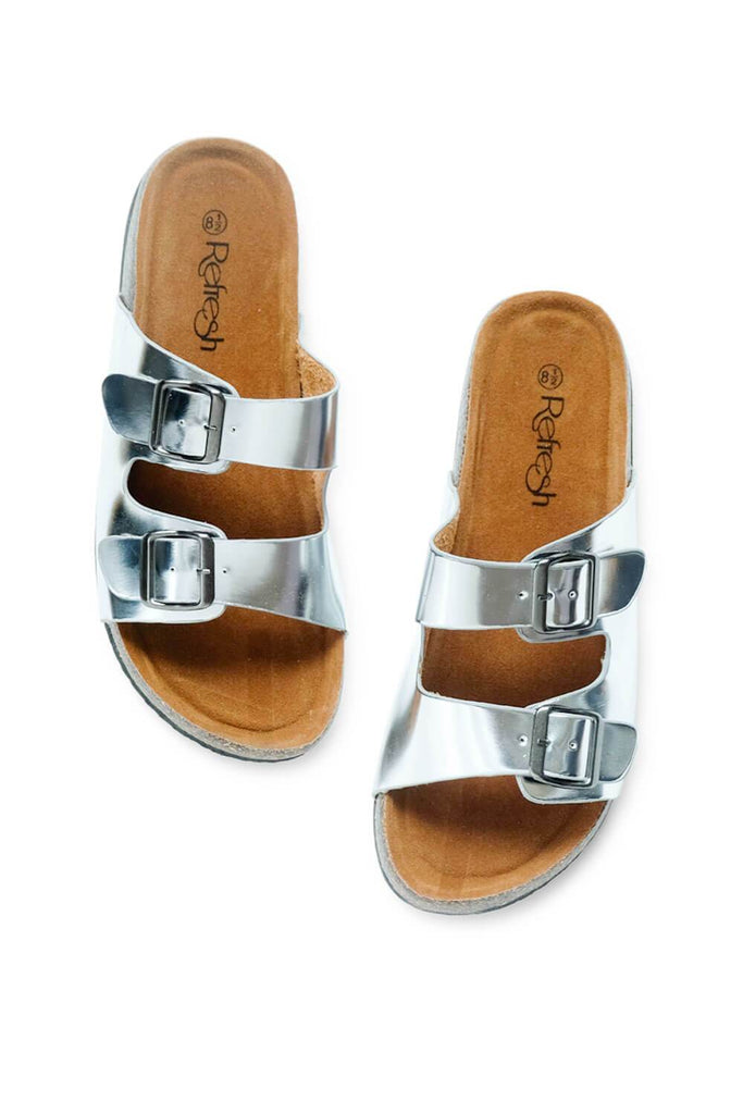 Cali Metallic Birk Sandals silver MILK MONEY