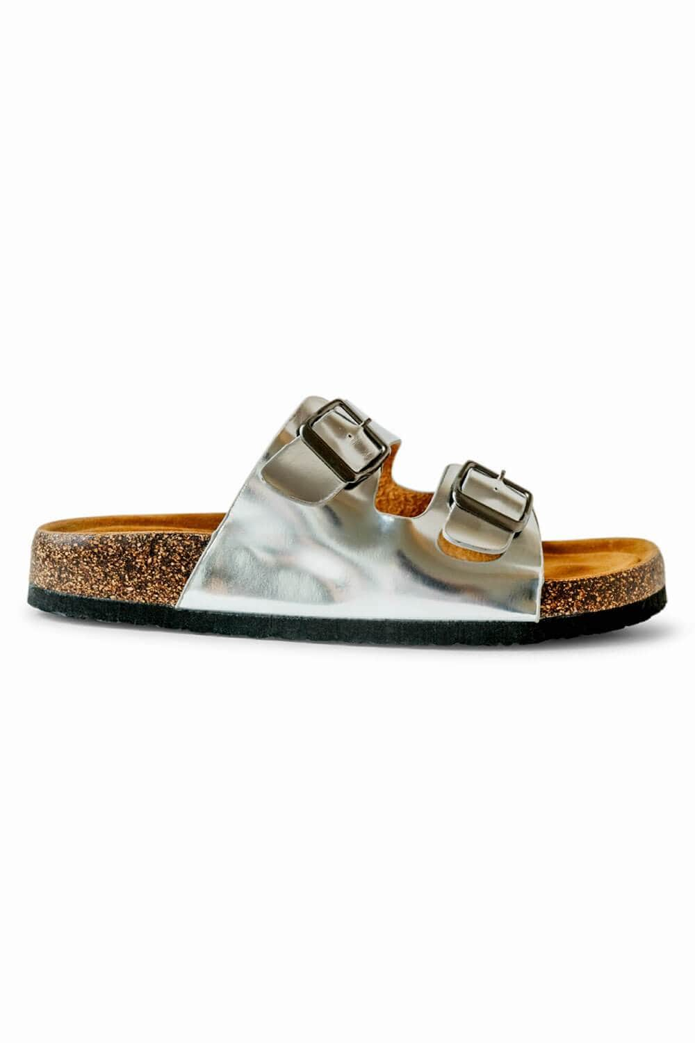 Cali Metallic Birk Sandals silver side MILK MONEY