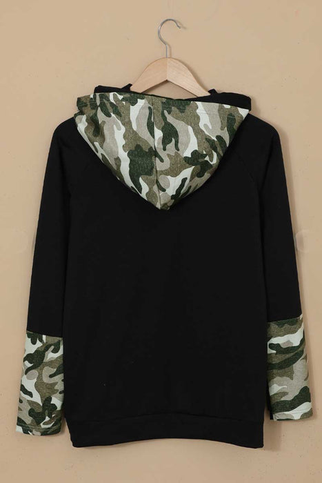 Camo Print Double Hoods Thumb Hole Hoodie black back MILK MONEY